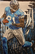 Detroit Lions Paintings - Breakaway- Autographed By Johnson by David Courson
