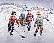 Hockey Paintings - Breakaway by Richard De Wolfe