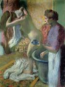 Interior Pastels Posters - Breakfast after a Bath Poster by Edgar Degas
