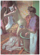 Bath Pastels Framed Prints - Breakfast after the Bath Framed Print by Edgar Degas