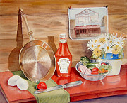 Ketchup Paintings - Breakfast at Copper Skillet by Irina Sztukowski