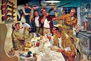 Cabin Painting Prints - Breakfast At The Hunting Cabin Print by Dwyer