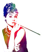 Actress Mixed Media Metal Prints - Breakfast at Tiffanys Metal Print by The DigArtisT