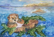 Otter Paintings - Breakfast in Bed by Ellen Levinson