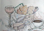 Breakfast Drawings Prints - Breakfast in Italy Print by Carmen Gardell