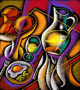 Waiter Painting Prints - Breakfast Print by Leon Zernitsky
