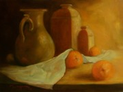 Table Cloth Drawings Metal Prints - Breakfast Oranges Metal Print by Tom Forgione