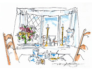 Tea Party Drawings - Breakfast Window by Marilyn MacGregor
