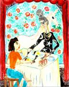 Sue Burgess Ceramics Posters - Breakfast with a witch Poster by Sushila Burgess