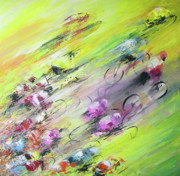 Cyclisme Paintings - Breaking Away by Miki De Goodaboom