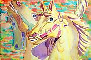 Carousel Horse Painting Framed Prints - Breaking Free Framed Print by Janice Gell