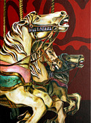 Carousel Horse Painting Framed Prints - Breaking Free Framed Print by Kathryn M Bennett