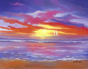 Beach Scenes Digital Art - Breaking Sun by Sena Wilson