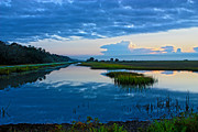Lowcountry Digital Art Prints - Breaking Sunrise Low Country Marsh Print by Mike Savlen