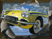 Corvette Paintings - Breakout by Lucretia Torva