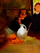 Writer Painting Originals - Breaktime with Oranges and Milk Jug Man Deep in Philosophical Thought with Mysterious Boy Servant by M Zimmerman MendyZ