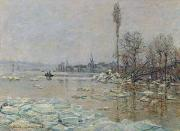 Rural Snow Scenes Posters - Breakup of Ice Poster by Claude Monet