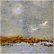 Flying Seagull Art - Breakwater by Carol Leigh