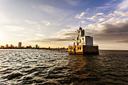 Milwaukee Skyline Framed Prints - Breakwater Lighthouse Framed Print by CJ Schmit
