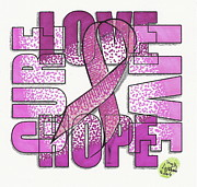 Survival Mixed Media Prints - Breast Cancer Ribbon Print by Scott Lightfoot