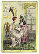 Slit Dress Framed Prints - Breastfeeding, 18th-century Caricature Framed Print by Miriam And Ira D. Wallach Division Of Art, Prints And Photographsnew York Public Library