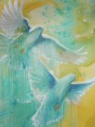 Peace Doves Paintings - Breath of the Spirit by Kathy Brusnighan
