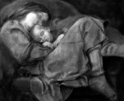 Mother And Child Drawings - Breathe by MaryAnn Cleary