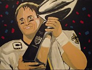 Mvp Posters - Brees and Lombardi Poster by Simon Hardesty