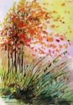 Autumn Landscape Drawings Framed Prints - Breezes Framed Print by John  Williams