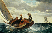 Boats On Water Painting Framed Prints - Breezing Up Framed Print by Winslow Homer