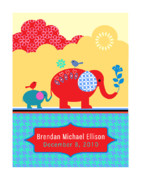 Elephants Digital Art Framed Prints - Brendans Custom Poster Framed Print by Misha Maynerick
