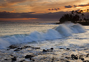 Poipu Posters - Brennecke Waves Sunset Poster by Mike  Dawson