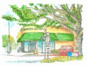 Watercolors Prints - Brentwood-Starbucks-California Print by Carlos G Groppa