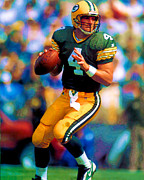 Bret Prints - Bret Favre- Green Bay Packers Print by Herb Paynter