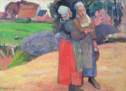 Post-impressionist; Landscape; Chatting; Gossiping; Women; Bonnets; French; Farm; Worker; Costume; France; Pail; Farm; Agriculture; Workers; Colour; Talking; Meeting; Paysannes Bretonnes; Pont-aven School; Pont Aven Posters - Breton Peasants Poster by Paul Gauguin