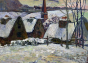 Village Paintings - Breton village under snow by Paul Gauguin