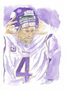 Athletes Painting Prints - Brett Favre - The Old Warrior Print by George  Brooks