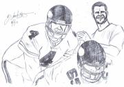 Super Star Mixed Media Prints - Brett Favre Print by HPrince De Artist