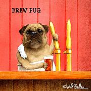 Happy Painting Prints - Brew Pug... Print by Will Bullas