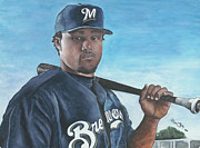 Baseball Art Painting Originals - Brewer Prince by Jason Yoder
