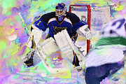 Hockey Painting Prints - Brian Elliot Print by Donald Pavlica