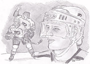Flyers Hockey Drawings - Brian Propp by Chris  DelVecchio