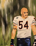Chicago Bears Paintings - Brian Urlacher by Steven Dopka