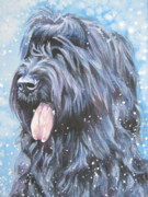 Christmas Dog Framed Prints - Briard in snow Framed Print by Lee Ann Shepard