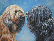 Pup Framed Prints - Briard  Pair Framed Print by Lee Ann Shepard