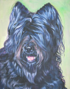 Cropped Paintings - Briard with cropped ears by Lee Ann Shepard
