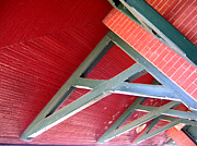 Buidling Metal Prints - Brick and Wood Truss Metal Print by Denise Keegan Frawley