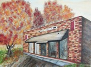 Suzanne  Marie Leclair Prints - Brick Building Print by Suzanne  Marie Leclair