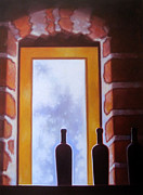 Wine Glasses Paintings - Brick by Brick by Penelope Moore