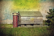 Barn Yard Photo Prints - Brick Silo Print by Kathy Jennings